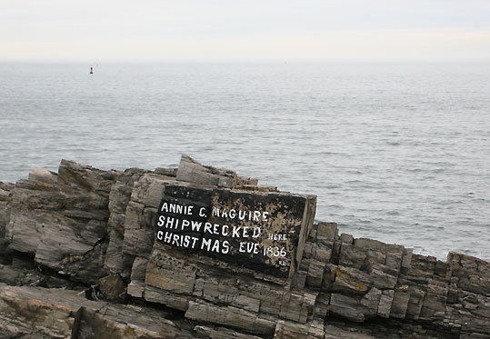 A notation as to where British ship Annie C. Maguire ran ashore on the rocks at Portland Head Light in 1886.