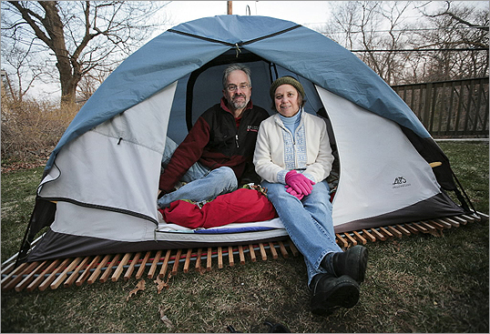 Josh Shortlidge and Terri Shortlidge have been sleeping in a tent outside their home in Melrose every night for almost a year.