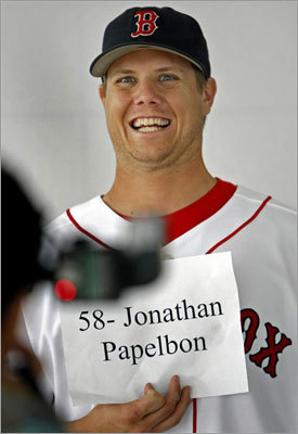 Papelbon, who has saved at least 30 games in each of his six full seasons, has a charismatic (some might say goofy) personality when he's not on the mound. Following the Sox' 2007 World Series victory, he told 'Late Night Show' host David Letterman that his dog chewed up the ball used to record the final out. He's worn a Rick Vaughn mohawk after losing a bet to Kevin Youkilis and refers to himself as 'Cinco Ocho,' a reference to his No. 58 jersey number.