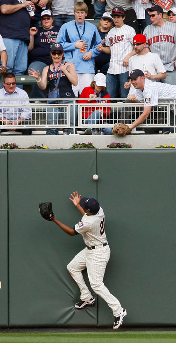 Twins left fielder Delmon Young misplayed a double by Boston's David Ortiz during the fourth inning. It went down as a hit, the only hit for Ortiz on the game.