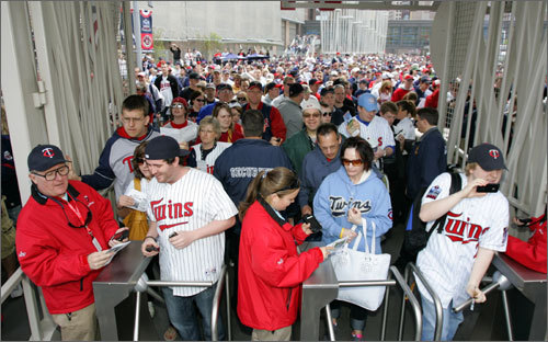 Twins fans entered Target Field, the new stadium for the Twins, on Monday afternoon for the first regular season game in baseball's newest stadium.