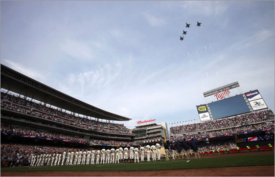 A ceremonial flyover was part of the pregame pomp and circumstance.