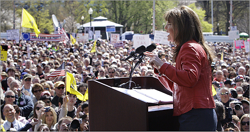 Palin gestured while addressing the crowd.