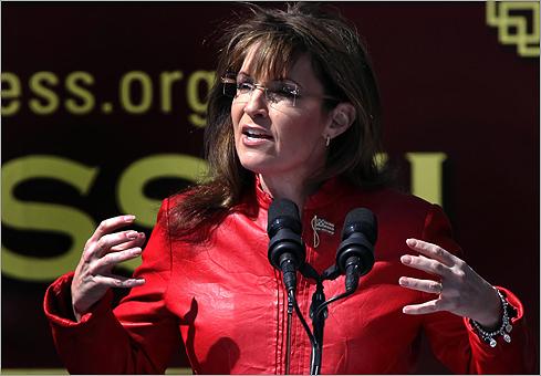 Palin gesticulated during her speech.