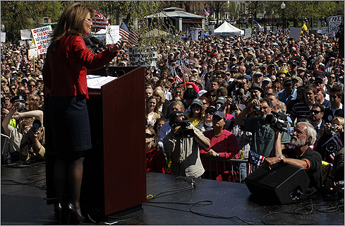 Palin spoke to the crowd of thousands.