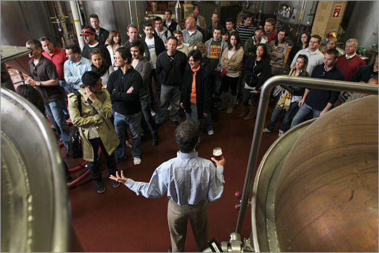 Shown here in April 2010, Jim Koch gives a tour at the Jamaica Plain brewery as the company is about to celebrate its 25th anniversary.