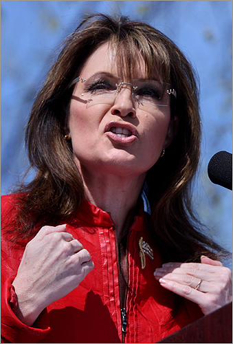 Palin during her speech.