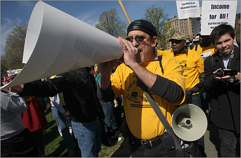 Counterdemonstrators made themselves heard at the rally.