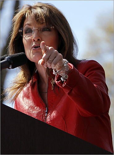 Palin gestured to the crowd.