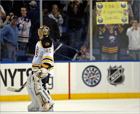 Bruins goalie Tuukka Rask allowed only two goals, but it was one too many as the Sabres defeated the Bruins in Game 1 of their playoff series in Buffalo.