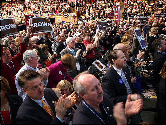 Delegates showed their appreciation for Scott Brown as he ended his keynote address.
