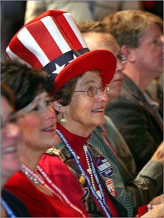 Delegate Ellen Hargraves of Groton showed her patriotism with her hat.