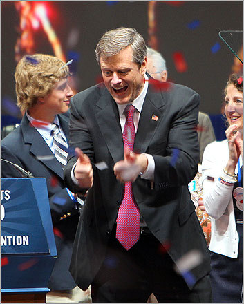 The GOP gubernatorial candidate gave two thumbs up during the celebration.