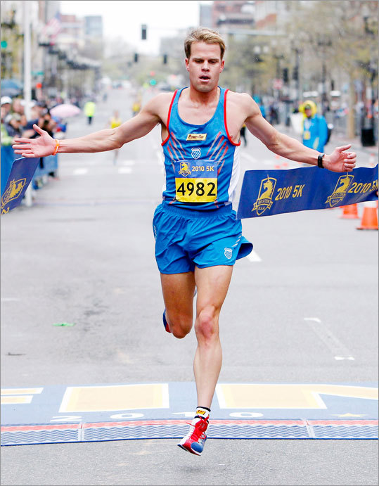 Josh Cox won the 5K race, which finished on Boylston Street in the same location Monday's marathon ends.
