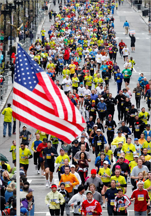 Approximately 5,000 runners participated in a 5-kilometer road race held by the Boston Athletic Association as a prelude to the Boston Marathon.
