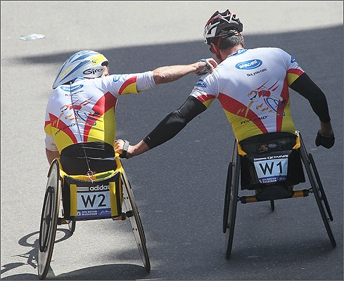 After the race, Van Dyk shared a moment with fellow South African Krige Schabot, who finished second.
