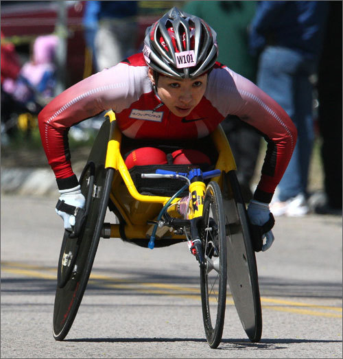 Wheelchair racer Wakako Tsuchida led the women's wheelchair race up Heartbreak Hill.