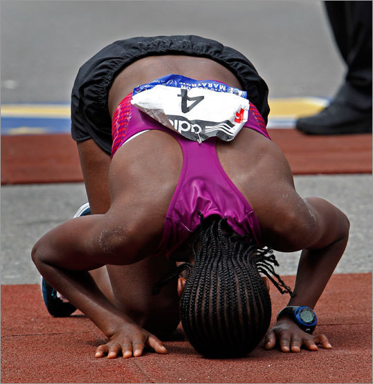 The winner of the women's race, Teyba Erkesso, collapsed after she crossed the finish line of the 114th Boston Marathon. Erkesso, like many before and after her, endured through the pain of the 26.2 mile journey. She finished in 2:26.11.