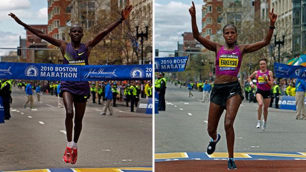 Cheruiyot sets record; Erkessa wins women's race