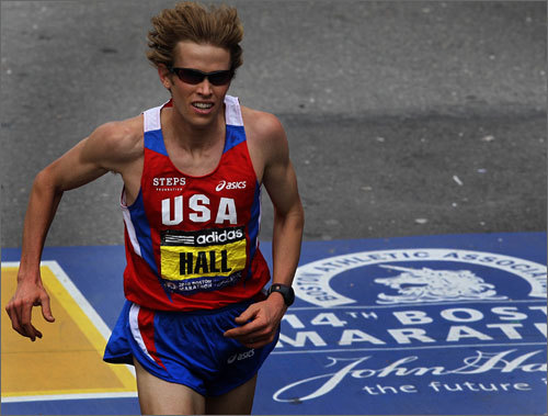 American Ryan Hall crossed the finish line to the loud ovation of the crowd. He finished fourth, the best finish by a US runner since 1994.