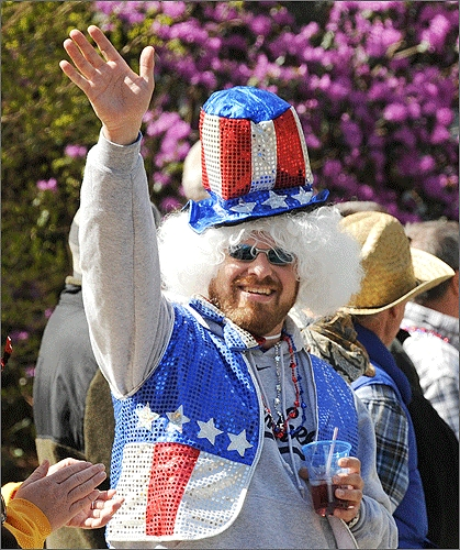 Jeff Lease of Newburgh, N.Y. donned Colonial garb as he cheered competitors at Heartbreak Hill in Newton.