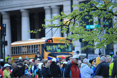 Bus loading began at 6 a.m. and runners were supposed to board based on their bib number. Numbers all the way to 13,999 boarded from 6 to 6:45 a.m., while the rest of the field boarded until 7:30 a.m. when bus service stopped.