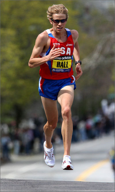 American Ryan Hall works his way up Heartbreak Hill. He finished fourth overall.