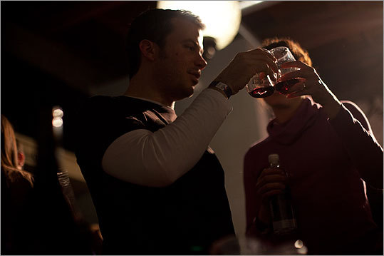 Ben Bel Vento of Cambridge and his wife Gwen Long toasted with wine from the Corvidae Wine Company. 'I'm not a wine snob,' Bel Vento said. 'But I know what I like.'