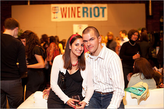 Boston University student Joanna DiLoreto and Tom Ferranti of Windsor, Conn., posed for a photo at the Wine Riot!