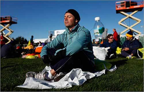 Jose-Luis Ruiz, of San Diego, Calif., prepared himself for the upcoming marathon.