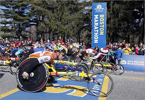 Wheelchair competitor Kota Hokinoue of Japan crossed the start line.