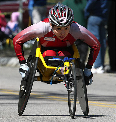 Wheelchair racer Wakako Tsuchida climbed Heartbreak Hill in Newton.