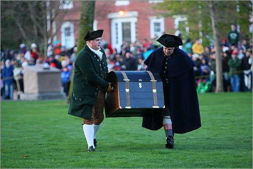 Patriots carried a trunk full of papers across the green, an effort to keep the documents out of British hands.
