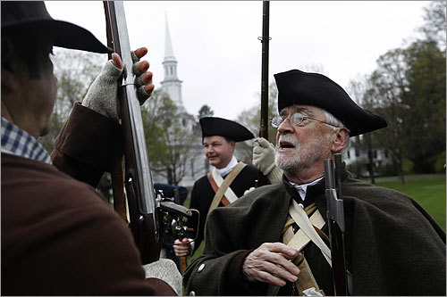 William Poole, right, portrayed Ebenezer Locke. Poole, 76, is a direct descendant of Ebenezer Locke, a man who, according to one account, fired the musket that set the course of the nation's history. He was inspecting the Minutemen during a reenactment of the second call to arms from Captain Parker.