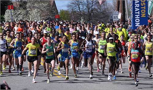 the elite runners are off and running at the start of the Boston Marathon.