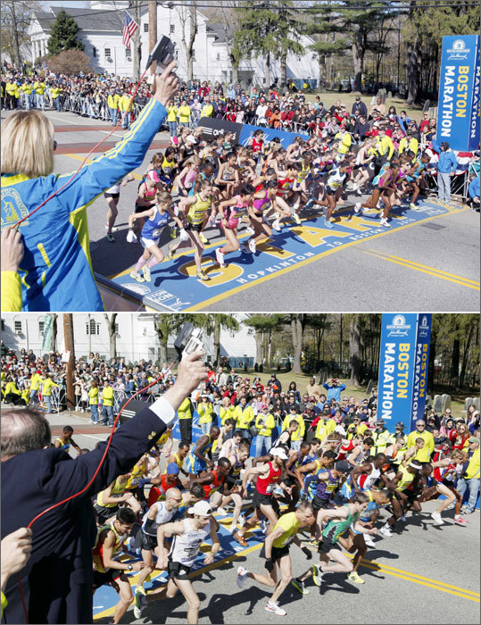 The elite men and women began the 114th Boston Marathon roughly a half-hour apart. The women's elite race commenced at 9:32 a.m.
