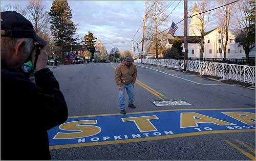 Rick Keough took a picture of David Mason pretending to start the marathon. Both men are from Hopkinton.