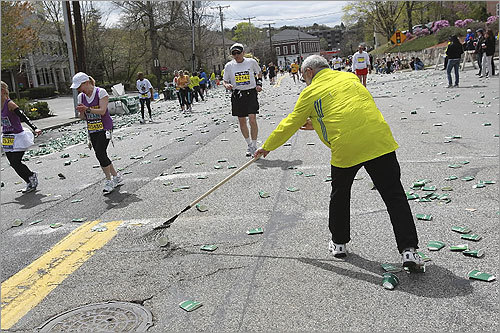 Clean up began as runners made their way through.