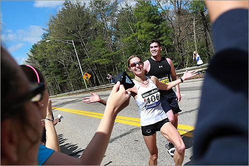 Wellesley gave a group of runners its traditional friendly welcome and words of encouragement.