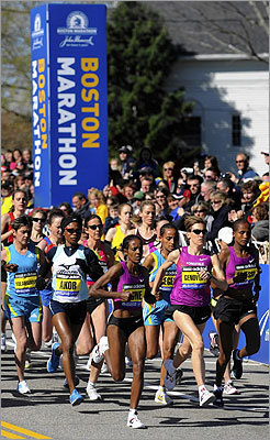 Many elite women's runners started the race ...