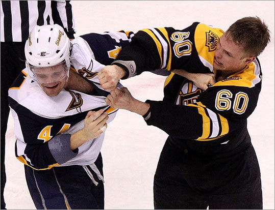 Bruins center Vladimir Sobotka (right) and Sabres defenseman Andrej Sekera duked it out in the third period.