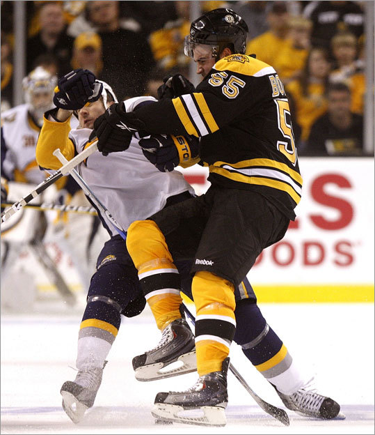 Bruins defenseman Johnny Boychuk delivered the hit of the night, and it ...