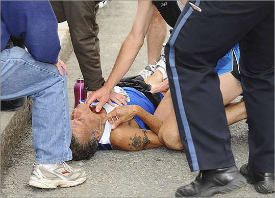 A man went into cardiac arrest during the Boston Marathon.