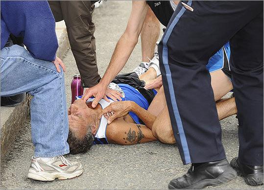 A man went into cardiac arrest during the Boston Marathon.