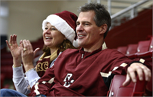 Brown will also speak at Boston College Law School's Commencement on May 28. Brown is a BC Law alum, graduating in 1985. Brown and his wife, WCVB news anchor Gail Huff, watched their daughter Ayla play for the BC women's basketball team in Newton on Dec. 20, 2009.