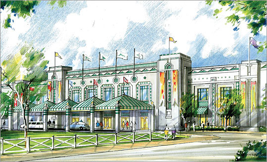 Owners of the Suffolk Downs race track unveiled their proposal for a resort-stye casino at the East Boston facility. Suffolk Downs chief operating officer Chip Tuttle said the casino could have as many as 5,000 slot machines, more than 200 table games, a 400--to--600-room hotel, and upscale restaurants and shops. Read more about the proposed Suffolk Downs casino