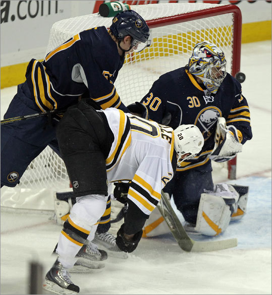 Sabres goalie Ryan Miller blocked a first period shot by Bruins left wing Daniel Paille.