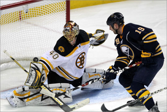 Tuukka Rask denied Sabres center Tim Connolly in the second period.