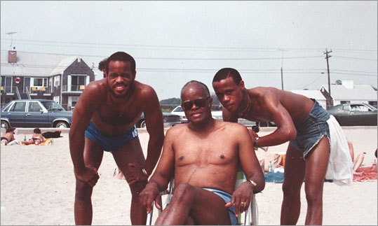 Harry Elam Jr., Harry Elam Sr., and Keith ('Guru'') Elam on Cape Cod in the 1970s.