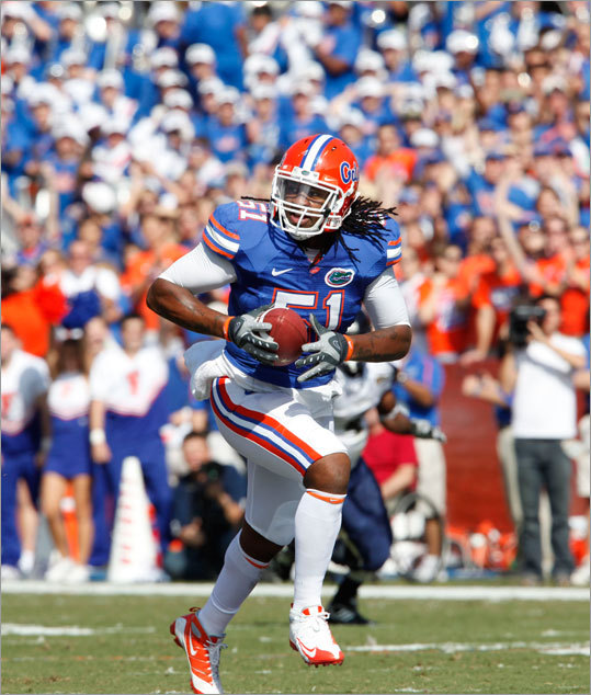 The Patriots used the 62d pick on Florida linebacker Brandon Spikes. Spikes is 6-foot-3, 249 pounds. However, he did not clock well in the 40-yard dash at the NFL Scouting Combine, but he plays faster than his timed speed. He also is considered to have above-average instincts. <!-- // define variables var date = new Date(); var current_time = date.getTime(); // write SCRIPT tag to browser document.writeln(' '); // -->